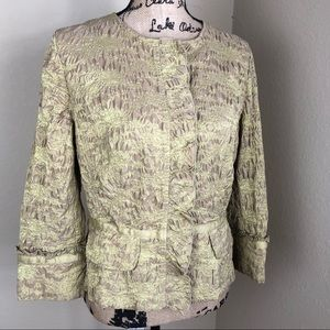 David Meister Gold Embroidered Ruffled Jacket 14